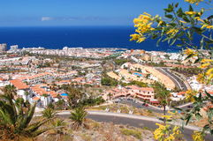 Picturesque outstanding landscape of beautiful resort playa de las americas on tenerife, spain Stock Image