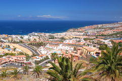 Picturesque outstanding landscape of beautiful resort playa de las americas on tenerife, spain Stock Photography