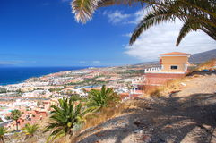 Picturesque outstanding landscape of beautiful resort playa de las americas on tenerife, spain Royalty Free Stock Photo