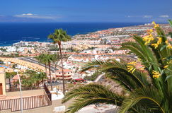 Picturesque outstanding landscape of beautiful resort playa de las americas on tenerife, spain Stock Photos