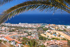 Picturesque outstanding landscape of beautiful resort playa de las americas on tenerife, spain Royalty Free Stock Photography