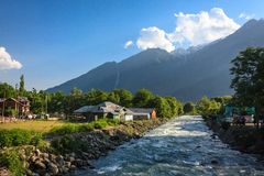 Picturesque Pahalgam. Lidder river flowing through picturesque Pahalgam, Kashmir, India Stock Images
