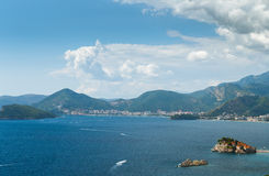 The picturesque panorama of the Adriatic coast near the island o Royalty Free Stock Images