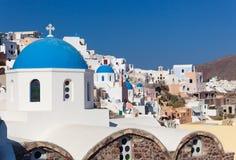 Old Town of Oia or Ia in Santorini island. Stock Photos