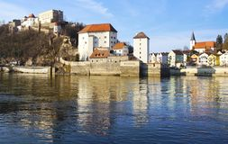 Picturesque panorama of Passau. Germany Stock Images