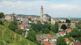Picturesque panorama of small ancient town with amazing gothic architecture in summer day. Calm landscape stock video footage