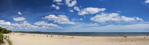 Picturesque panoramic landscape of baltic sunny beach in gdansk oliwa in the summer Royalty Free Stock Images