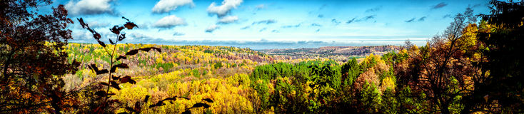 Picturesque panoramic view of autumn landscape in Sigulda. Latvi Stock Photos