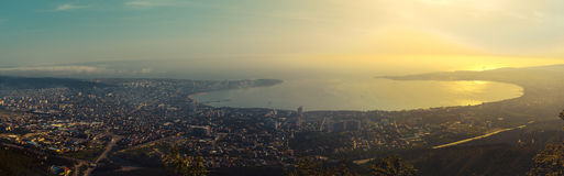 Picturesque panoramic view of the Gelendzhik sea bay in the sunset. Stock Images