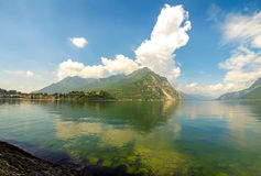 Picturesque panoramic view of Lake Como and Lecco city, Italy Royalty Free Stock Photo