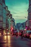 Picturesque parisian city street scene with Eiffel Stock Photography