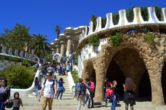 Picturesque  Park Guell view ,Barcelona Stock Photos