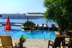 Picturesque patio overlooking Sozopol bay Stock Images