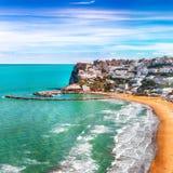 Picturesque Peschici with wide sandy beach in Puglia, adriatic coast of Italy. Location Peschici, Gargano peninsula, Apulia, southern Italy, Europe stock photography