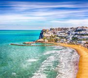 Picturesque Peschici with wide sandy beach in Puglia, adriatic coast of Italy. Location Peschici, Gargano peninsula, Apulia, southern Italy, Europe stock photos