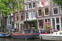 Picturesque place in Amsterdam (Netherlands) Royalty Free Stock Image