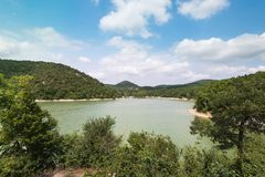 Picturesque place and beautiful landscape, cypress lake Sukko, Krasnodar region, Russian South. royalty free stock photo