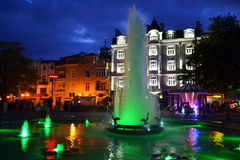 Picturesque Plovdiv city square fountain Stock Image