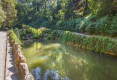 Pond in the Pena park in Sintra. Portugal royalty free stock image