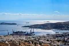 The island of Syros. The picturesque port of Ermoupolis on the island of Syros Stock Photography