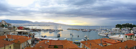Picturesque harbor of Tourkolimano at Piraeus, Greece. View of the picturesque harbor of Microlimano under a cloudy sky at the sunrise, Piraeus - Greece stock images