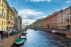 The picturesque promenade with heavy boat traffic, St. Petersbur Stock Images