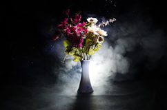 Picturesque purple spring flowers in glass vase standing in a row on a dark background with stars with light and fog. Close up Stock Photo