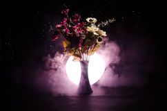 Picturesque purple spring flowers in glass vase standing in a row on a dark background with stars with light and fog. Close up Royalty Free Stock Image