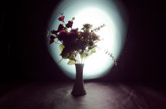 Picturesque purple spring flowers in glass vase standing in a row on a dark background with stars with light and fog. Close up Stock Photography