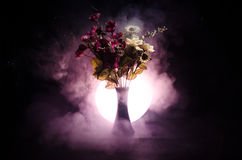 Picturesque purple spring flowers in glass vase standing in a row on a dark background with stars with light and fog. Close up Stock Images