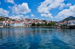 Pylos Harbour and Town, Peloponnese, Greece stock images