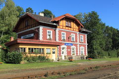 Picturesque railway station Stock Images