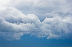 Picturesque rainy clouds against blue sky at spring in Belgrade Royalty Free Stock Images