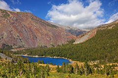 Picturesque red mountain on  lake Tioga Royalty Free Stock Photo