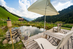 Picturesque Relaxing Point To Relax In The Alps Royalty Free Stock Image
