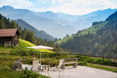 Picturesque Relaxing Point To Relax In The Alps Stock Images