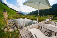 Picturesque Relaxing Point To Relax In The Alps Royalty Free Stock Photos