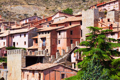 Picturesque residence  houses in Albarracin Royalty Free Stock Photos