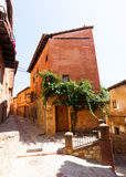 Picturesque residence stony houses  in Albarracin Stock Images