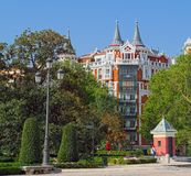 Picturesque residential building in Madrid, Spain royalty free stock photos