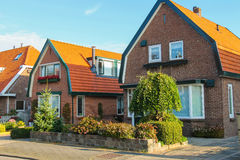 Picturesque residential houses in small Dutch town Zwanenburg Royalty Free Stock Photography
