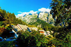 Picturesque road in beautiful alpine landscape with big mountains and small villages Stock Photography