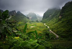 Picturesque road among the karst mountains leads to the town of Royalty Free Stock Photo