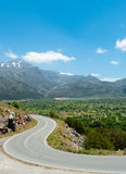 Picturesque road from Lasithi Plateau Royalty Free Stock Image