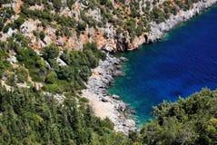 Rocky cove near Antisamos beach close to Sami on the Greek island of Kefalonia stock photo