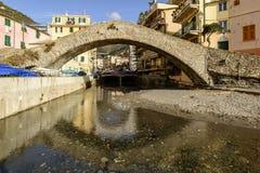 Picturesque roman stone bridge in  sea village, Bogliasco, Italy Royalty Free Stock Photo