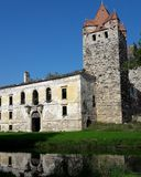 Ruined castle in Pottendorf Austria. The picturesque ruins of an an early gothic walled chappel and an adjacent baroque palace formerly owned by the famous Royalty Free Stock Photography