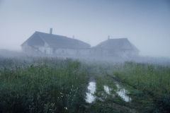 Picturesque Ruins On Hill In Fog In Morning Royalty Free Stock Photo