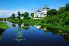 Picturesque Russian landscape with church. Stock Image