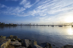 Picturesque San Diego cityscape just after sunrise  from Coronado Bay to San Diego Stock Image